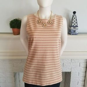 Loft Pink Striped Sleeveless CottonTank, Size XL